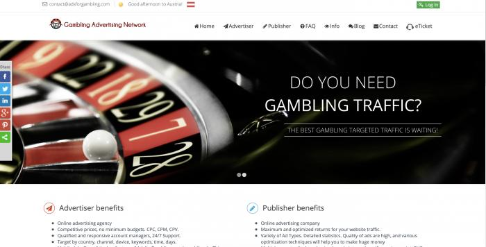 Gambling Advertising Network Screenshot